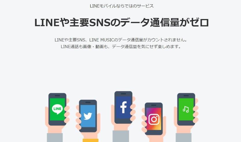 LINEモバイルのメリット➀_カウントフリーでLINEなどの主要SNSが使い放題