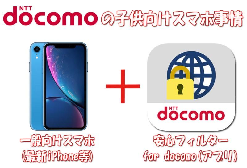 ドコモは子供向けのスマホはなく、一般向けの最新iPhoneなどにフィルタリングアプリ「安心フィルターfor docomo」を入れている