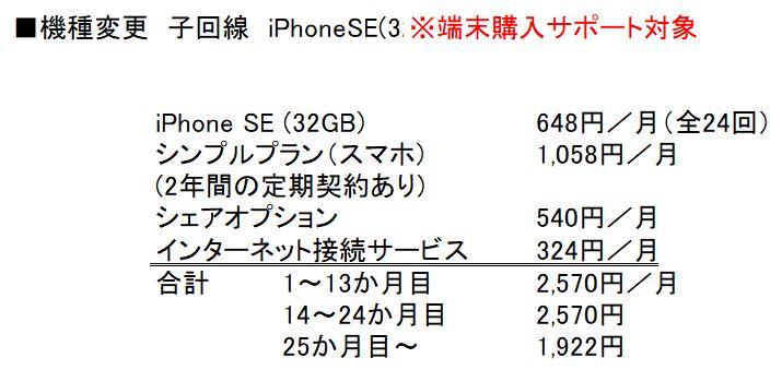 機種変更&子回線&iPhoneSE(32GB)購入時の月額料金と内訳