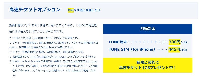 トーンモバイルの高速チケットオプションの説明