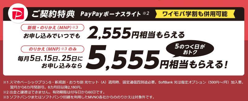 Yahooモバイルキャンペーンで、5つの付く日に5,555PayPay&5の付かない日でも2,555Paypay貰える