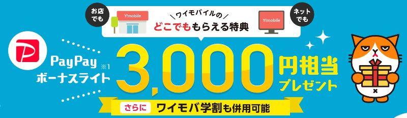 ワイモバイルのどこでももらえる特典は事前に専用ページにYahoo!japanIDでエントリーする事で3,000円分のPayPayポイントが貰える