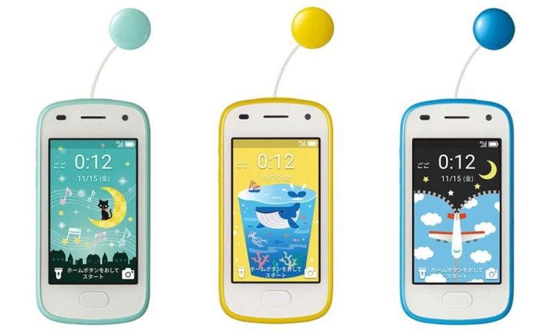 キッズフォン2の3色(ミント&イエロー&ライトブルー)