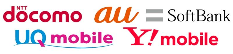 Y!UQ+大手3キャリアのロゴ