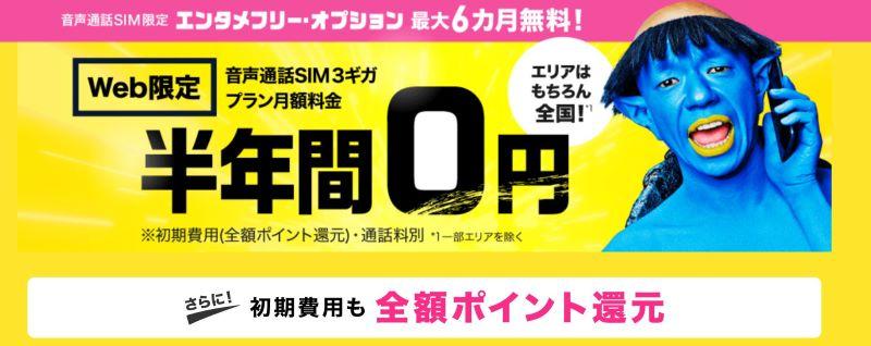 BIGLOBEモバイルの音声通話SIM限定半年間0円キャンペーン(2020年4月~)