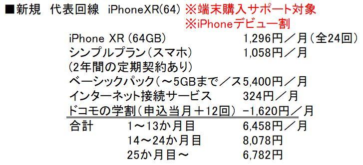 新規契約&代表回線&iPhoneXR(64GB)購入時の月額料金と内訳