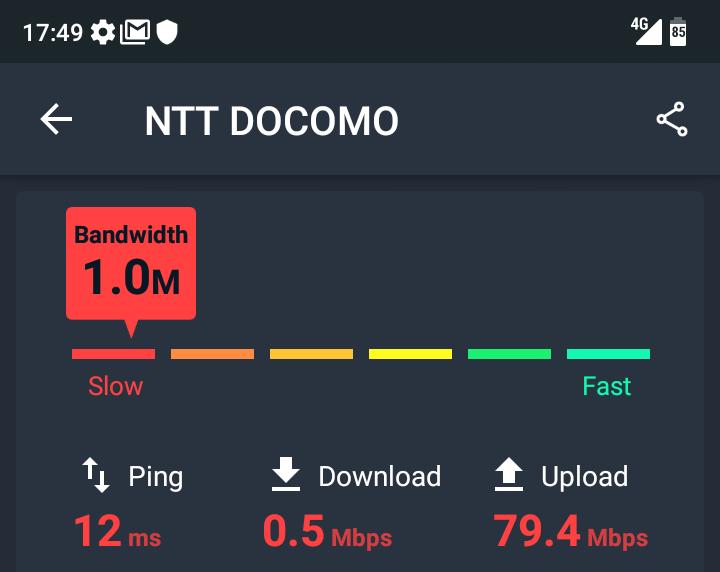 トーンモバイルの通信速度測定_1回目
