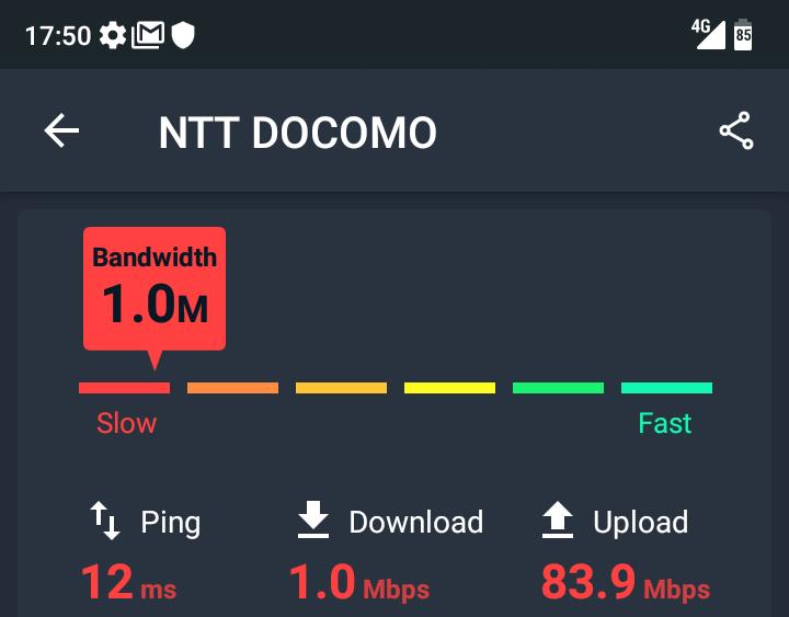 トーンモバイルの通信速度測定_2回目