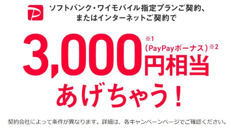 ソフトバンクワイモバイル契約でPayPayボーナスポイント3000円分あげちゃうキャンペーン(いい買い物の日)
