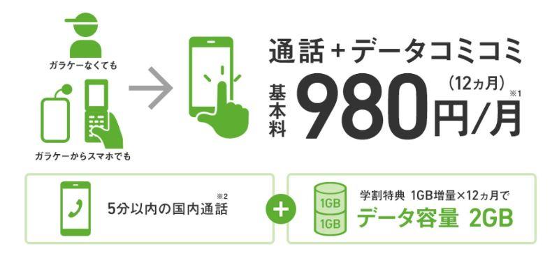 ソフトバンクの「スマホデビュープラン」は月1GB+5分かけ放題+各種割引で月額980円とお手頃