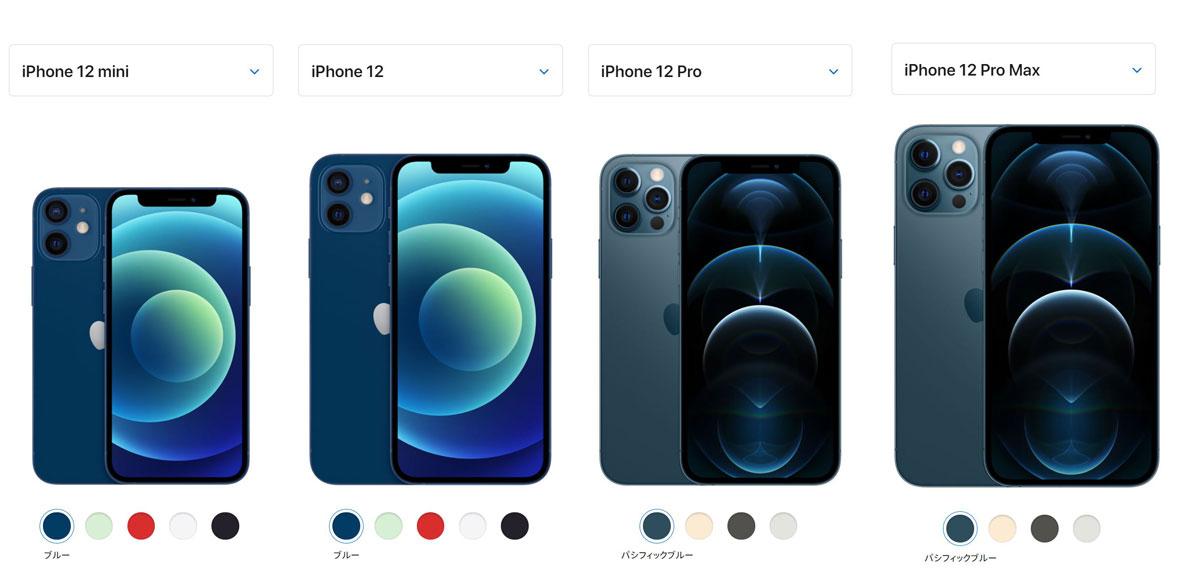 iPhone12Mini&iPhone12&iPhone12Pro&iPhoneProMAXの見た目とサイズとカラーバリエーションの違い