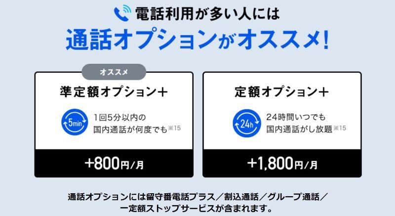 メリハリ無制限にオプションで付けられる無料通話オプション「定額オプション+」と「準定額オプション+」