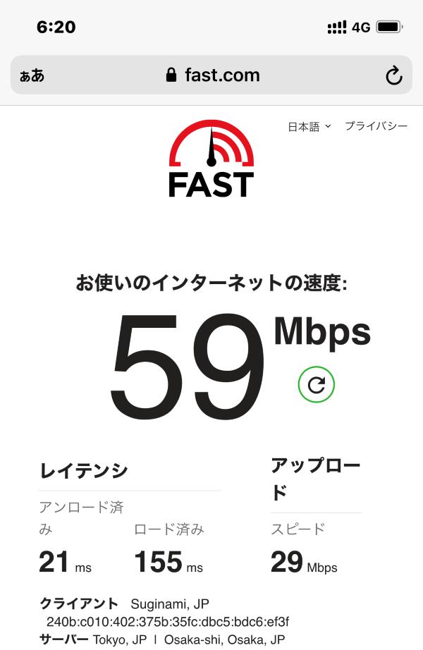 ★楽天モバイルの平日18時台の通信速度