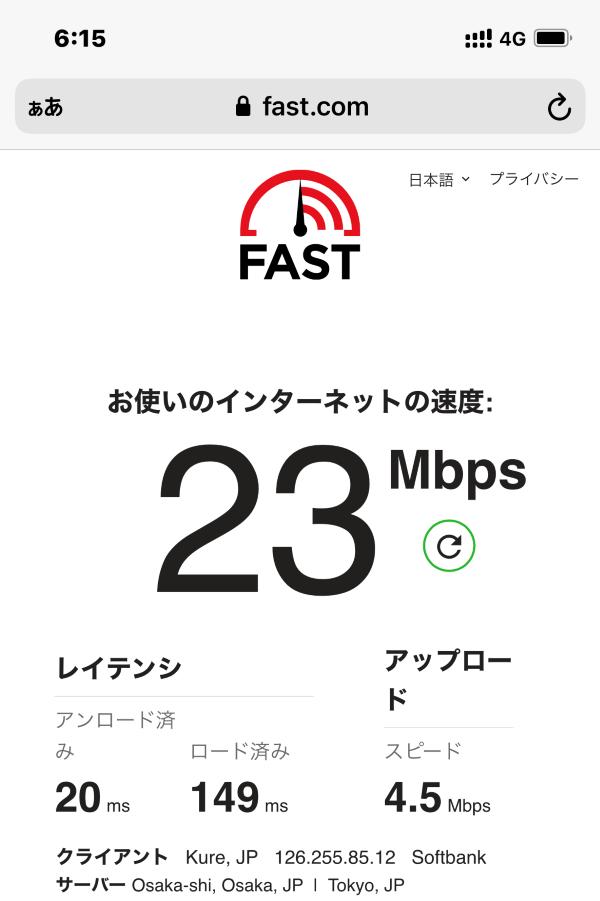 ★ワイモバイルの平日18時台の通信速度