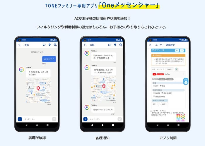 ★トーンファミリー専用アプリ「ONEメッセンジャー」の実際に使っている画面